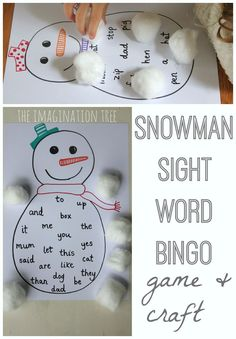 Snowman sight word bingo game and craft (adapt for colours, numbers, word types, etc)