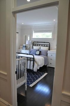 A nice guest room and nursery combo and the layout is very similar to what I have in mind. A nice guest room and nursery combo and the layout is very similar to what I have in mind. Baby Bedroom, Nursery Room, Bedroom Decor, Guest Room And Nursery Combo, Nursery Layout, Navy Nursery, Childs Bedroom, Chic Nursery, Nursery Ideas