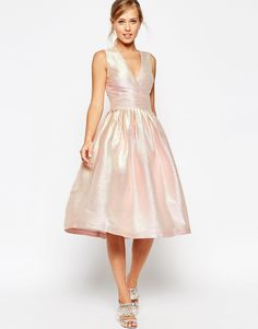Image 1 ofASOS SALON Holographic Shimmer Midi Prom Dress