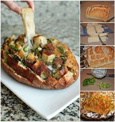 Cheesey Mushroom Pull Apart Bread--Yum, and although I don't like Mushrooms, I can certainly imagine the taste and flavor being delicious with. I Love Food, Good Food, Yummy Food, Healthy Food, Fun Food, Eating Healthy, Vegan Food, Clean Eating, Cheesy Pull Apart Bread