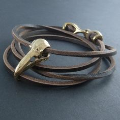 Raven Skull Bracelet - Bronze, on Leather