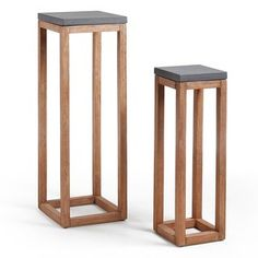 Levor set of 2 stands have solid acacia wood structure with a cement top. Table En Bois Diy, Diy Table, E Piano, Wood Plant Stand, Red Cushions, Wooden Planters, Plant Shelves, Wooden Diy, Woodworking Crafts