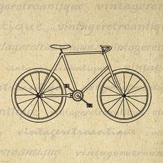 Digital Graphic Antique Bicycle Image Bike Outline Download Printable Vintage Clip Art Jpg Png Eps 18x18 HQ 300dpi No.3474 @ vintageretroantique.etsy.com