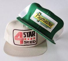 53904df58d3 Vintage Lot (2) Trucker Farm Seed Snapback Hats VTG