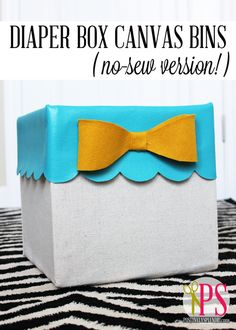 Positively Splendid {Crafts, Sewing, Recipes and Home Decor}: No-Sew Storage Bins from Diaper Boxes