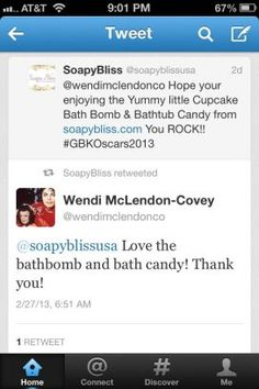 Wendy McClendon-Covey tweeting about the Bathtub Candy we gifted her at the Oscars!