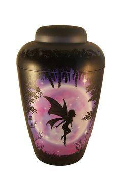 Airbrush Urne Elfe vor Mond im Wald. Bestattung Feuerbestattung lila, schwarz, grau --   funeral urn for human ashes fary and moon urn in black pink