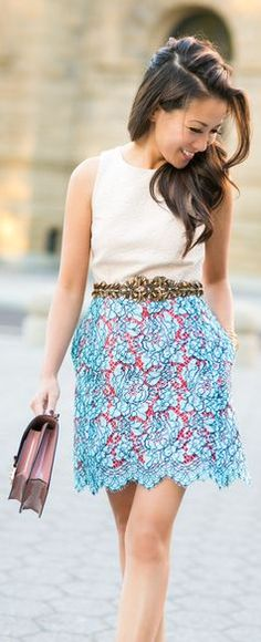 Statement Lace :: A-line Skirt & Embellished Belt by Wendy's Lookbook
