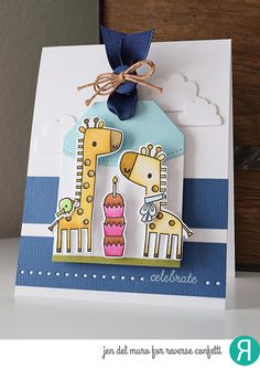 Card by Jen del Muro. Reverse Confetti stamp set: Lift Me Up. Confetti Cuts: Lift Me Up, Topped Off Tag, Top O' the Tag, Edge Essentials and Weather It Together. Birthday card. Baby card. Giraffes.