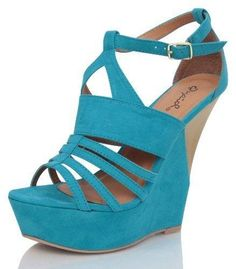 Women's #Fashion #Shoes Turquoise #Blue Strappy Cut Out Cork Open Toe Platform Wedge by Qupid