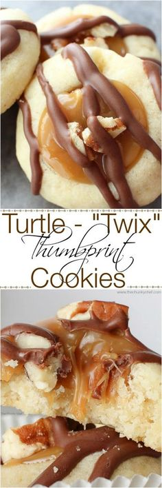Thumbprint Cookies Turtle-Twix Thumbprint Cookies - Thumbprint cookies are such a classic. this spin on them includes a gooey caramel center and drizzled melted chocolate. Tastes just like a Twix! Cookie Desserts, Just Desserts, Delicious Desserts, Dessert Recipes, Yummy Food, Pecan Desserts, Cookie Tray, Tasty, Pecan Pies