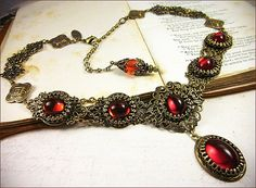 Medieval Necklace Ruby Necklace Red Garb by RabbitwoodandReason
