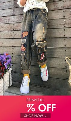 Robot Embroidered Patchwork Ripped Women Denim is a trendy, Newchic provides wide range of best cheap Denim & Jeans for you. Patched Jeans, Denim Jeans, Ripped Women, Pants For Women, Clothes For Women, Beautiful Hijab, Dark Denim, Levis, Chic Outfits