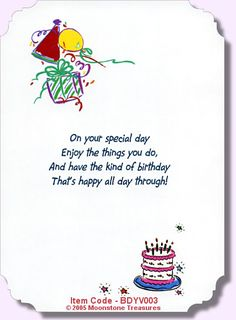 Birthday Verses For Daughter Yahoo Image Search Results - Free childrens birthday verses for cards