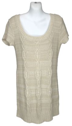 Pins and Needles Urban Outfitters Mini Sweater Dress M Tunic Cable Knit Oatmeal