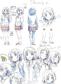 anime THE IDOLM@STER CINDERELLA GIRLS Character Model Sheet, Character Drawing, Character Concept, Concept Art, Animation Reference, Drawing Reference, Manga Art, Anime Art, Design Alien