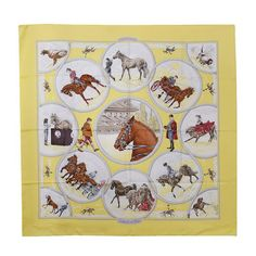 Gorgeous Hermes Auteuil en Mai equestrian 35 silk scarf. Pristine condition.