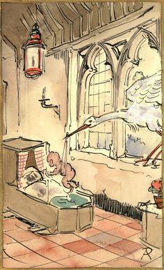 Anton Pieck (1895-1987) - Kleurstudie voor een geboortekaartje Prachtige opzet in kleur ( beeldmaat 115 x 18 cm) van Anton Pieck. . Voor een uitgeverij maakte hij iedere vakantie ( hij was leraar tekenen in Haarlem) een of meer aquarellen voor Kerst- en geboortekaarten. Hij stuurde vooraf altijd een opzetje in zwart/wit of kleur naar de uitgever om duidelijk te maken wat hij wilde maken. Dit hier is zo'n opzet in aquarelverf. Gesigneerd rechtsonder. Zowel het vel papier als de tekening…