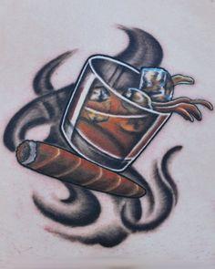 Joshua Hansen- Living Art Tattoo. whiskey and cigar tattoo