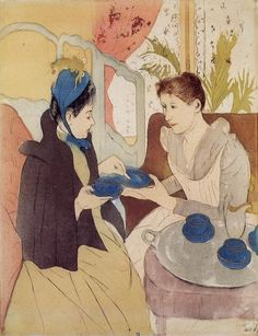 Mary Cassatt (1844-1926) - The Visit - Drypoint and aquatint on cream wove paper - 1890-1891 - Art Institute of Chicago