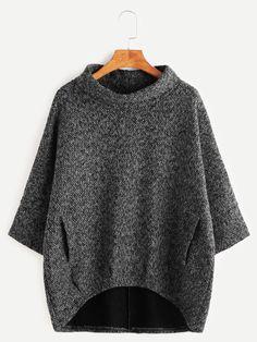 тёмно-серый асимметричный свитшот с карманами