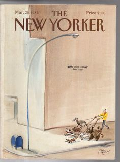 1985 New Yorker March 25 - Walking the dogs - Westie, Greyhound, poodle, Dach,