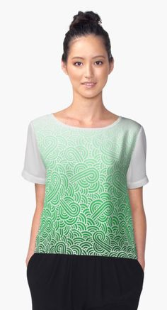 """Ombre green and white swirls zentangle"" Chiffon Tops by @savousepate on @redbubble #tshirt #teeshirt #clothing #apparel #pattern #drawing #doodles #zentangle #abstract #ombregreen #green #pastelgreen #emerald #mint #white #irish #stpatricksday #saintpatricksday #gradientgreen"