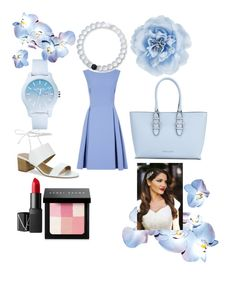 """Baby blue"" by peacock-style on Polyvore featuring Monsoon, Armani Jeans, Tahari, Lacoste, Lokai, NARS Cosmetics, Bobbi Brown Cosmetics and Gatsby"