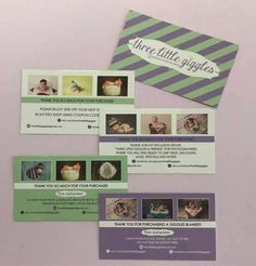 Custom Instruction Cards for Three Little Giggles  Contact sales@carbendesignstudio.com for custom designs!