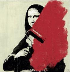 The Last of Mona Lisa, street art, graffiti art, by Banksy.
