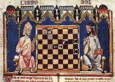 """Meravigliosa immagine presa da """"Il gioco degli scacchi, dei dadi e della dama"""", trattato del 1283 curato dal re spagnolo Alfonso il Saggio. #Scacchi #Chess"""