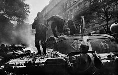 Josef Koudelka | CZECHOSLOVAKIA. 1968. Prague. Invasion of Warsaw Pact troops near the Radio headquarters.