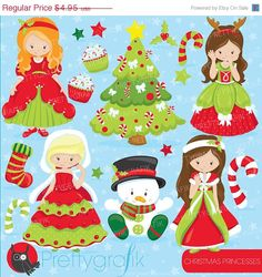 80% OFF SALE Christmas princesses clipart commercial use, christmas girls vector graphics, digital clip art, digital images  - CL750