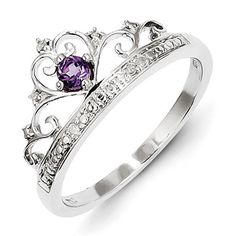 Sterling Silver Rhodium Plated Diamond And Amethyst Ring
