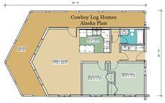 alaska log home plan first floor