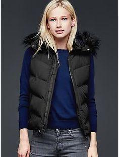 PrimaLoft® faux fur-trim chevron puffer vest | Gap