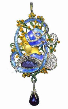 Henri Vever, Art Nouveau pendant. Vever is particularly noted for expertly inlay setting Opals into his lavish creations.