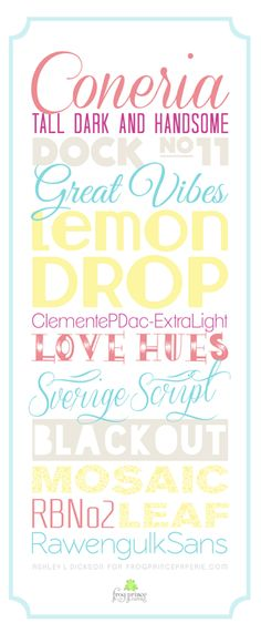 Free Summer Fonts – A Tiny Bit of Typography on http://frogprincepaperie.com