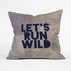 State your intentions clearly on this fashionable throw pillow. If you're prone to crisscrossing the map, it needs a place on your couch. With indigo letters over a mashup of maps, it's a great complem...  Find the Running Wild Pillow, as seen in the Throw Pillows Collection at http://dotandbo.com/category/decor-and-pillows/pillows/throw-pillows?utm_source=pinterest&utm_medium=organic&db_sku=P10936