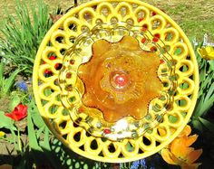 Vintage glass yellow sunflower! Upcycled glass garden art, repurposed for new beauty, to be hung on a stake, drought resistant glass art