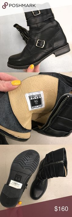 Frye veronica tanker boots size 9 Lovely boots never worn / multi belt detail / leather / us 9 ladies but will also fit 8.5 Frye Shoes Ankle Boots & Booties