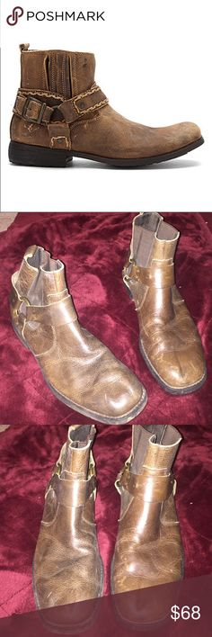 Men's bed stu harness boot These are a pair of brown , leather, harness boot from Bed Stu .. these are the older style, 1st pick is closest to actual boot.. signs of wear (minimal) tons of life left Bed Stu Shoes Boots