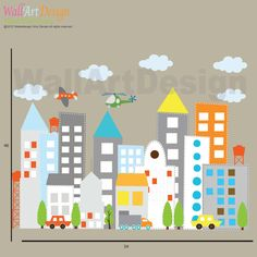 Kids Vinyl Wall Decal city buildings with cars trucks helicopter airplane Children Nursery