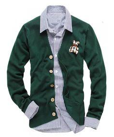 Wholesale All-match Korean Fashion Men Slim Fit Single-breasted V-neck Green Cardigans M/L/XL/XXL @512MK036gr in ClothingLoves.net. ($11.00) - Svpply