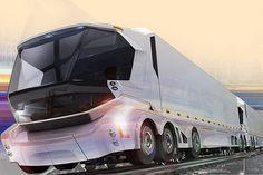 Китайские дизайнеры презентовали оригинальную концепцию Rail-Road Vehicle. Они предложили скрестить грузовые автопоезда с товарными железнодорожными. Многие скажут, так это уже же давно работает во многих странах Европы и называется интермодальными перевозками – железнодорожные платформы используются для перевозки грузовиков с прицепами.
