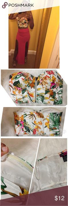 Pleather floral corset medium Pleather corset worn once ideal for b or small c cup. Sticky inside lining to help keep in place  clean inside Tops Crop Tops