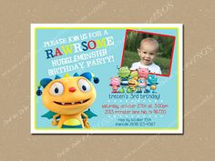 Henry Hugglemonster Birthday Invitation PRINTABLE on Etsy, $7.00 3rd Birthday Parties, Birthday Ideas, Henry Hugglemonster, Lincoln Birthday, Twins 1st Birthdays, Printable Birthday Invitations, Monster Party, Party Entertainment, Party Time