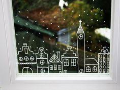 Raamdecoratie kerst met raamstift, village with house, window marker, christmas window decoration