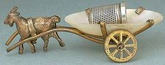 Goat Cart Antique Thimble Holder (Vintage French Circa 1870, Miniature Brass & Pearl Holder with Child's Sterling Silver Thimble)