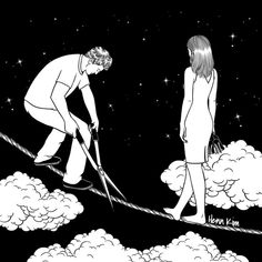 Korean artist Henn Kim creates minimalist black and white illustrations of those moments we feel lost in our own loneliness after a breakup. Art And Illustration, Black And White Illustration, Illustrations, Sad Drawings, Drawing Sketches, Pen Sketch, Life Drawing, Pencil Drawings, Henn Kim